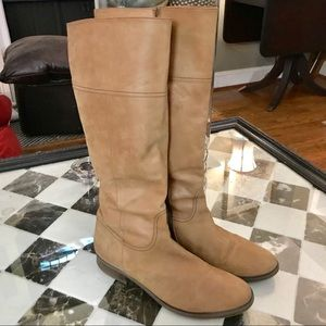 $310 J Crew ITALY soft Carob Leather Knee Boots
